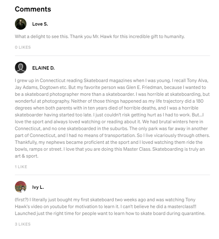 Tony Hawk Masterclass - Testimonials