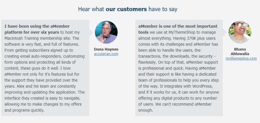 aMember - Customer Review
