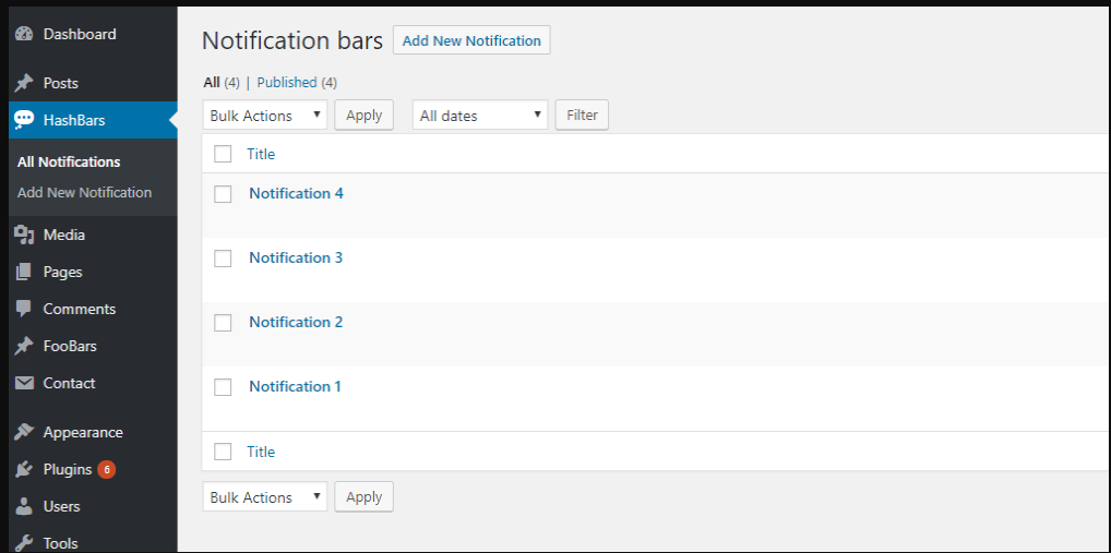 HashBar - Notification bar