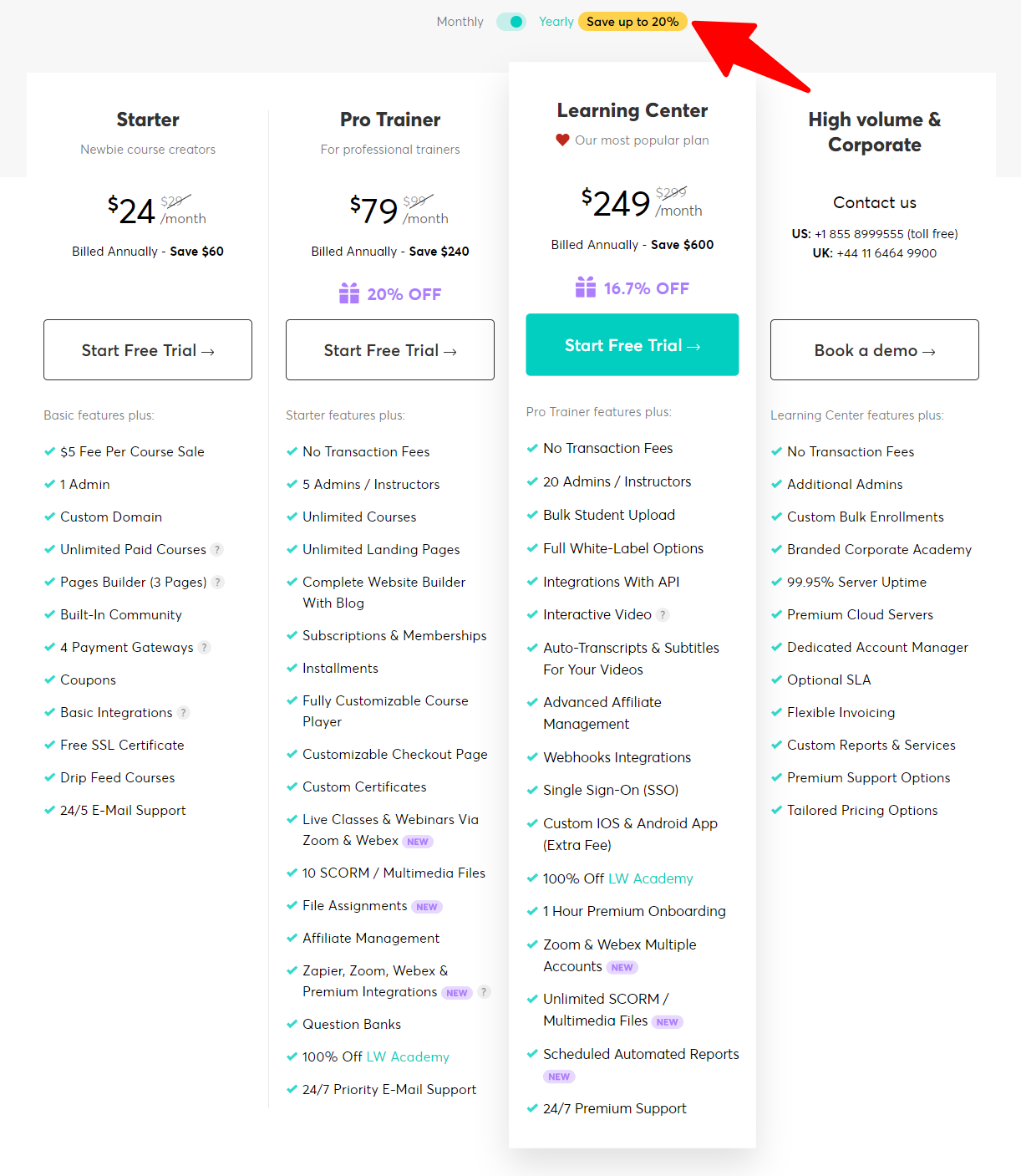 LearnWorlds - Pricing