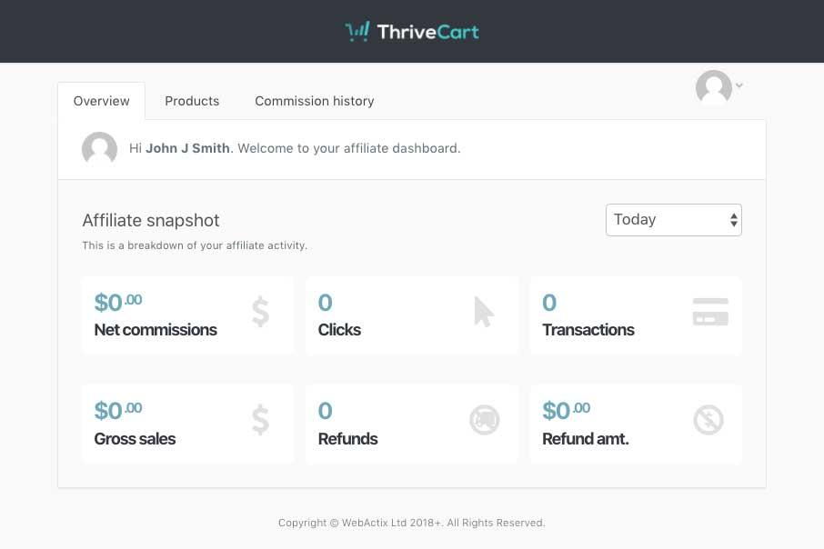 thrivecart affiliate center