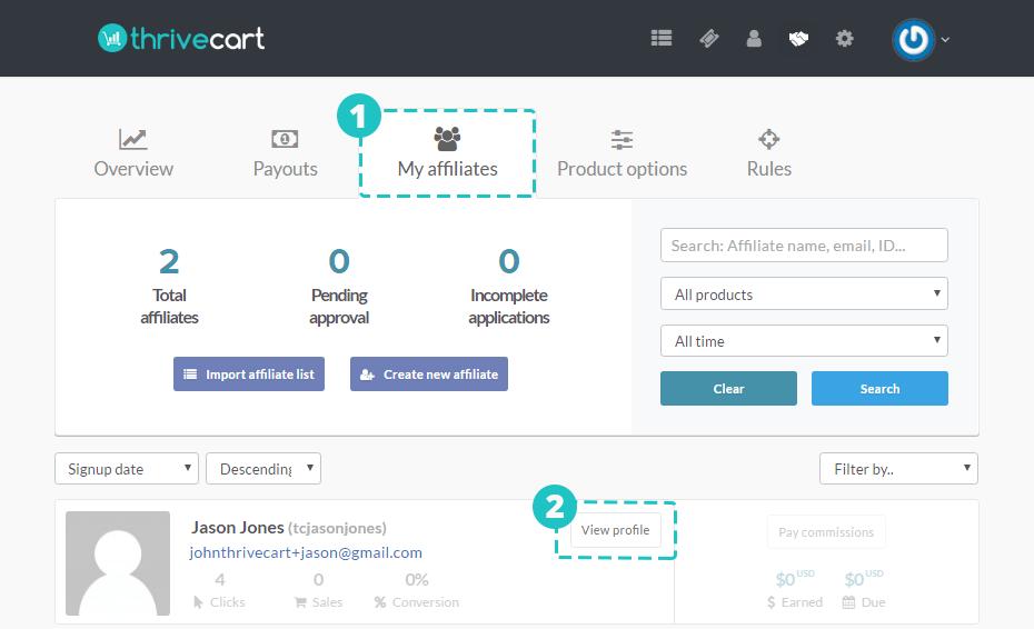 thrivecart creating affiliate centre