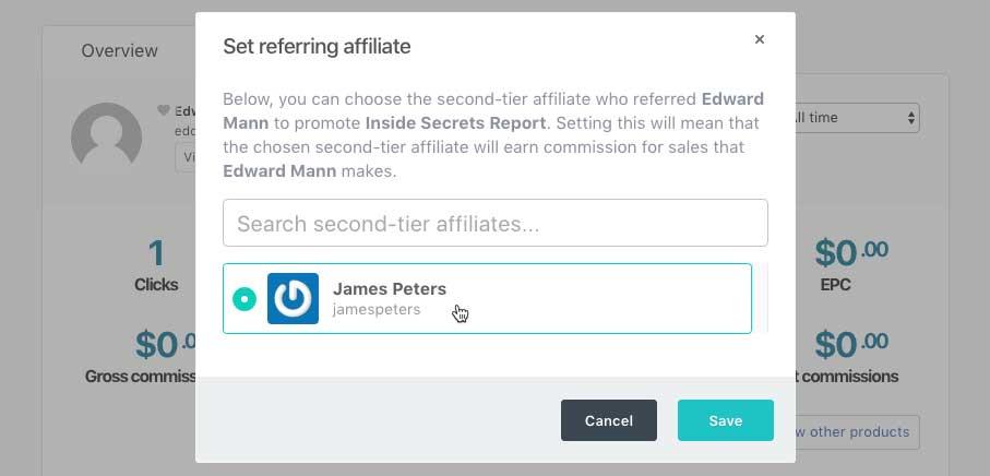 thrivecart referring affiliate