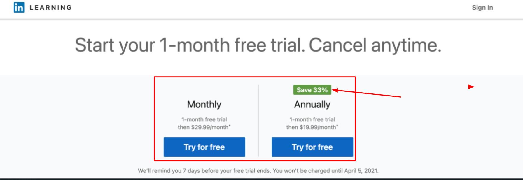 LinkedIn - Pricing