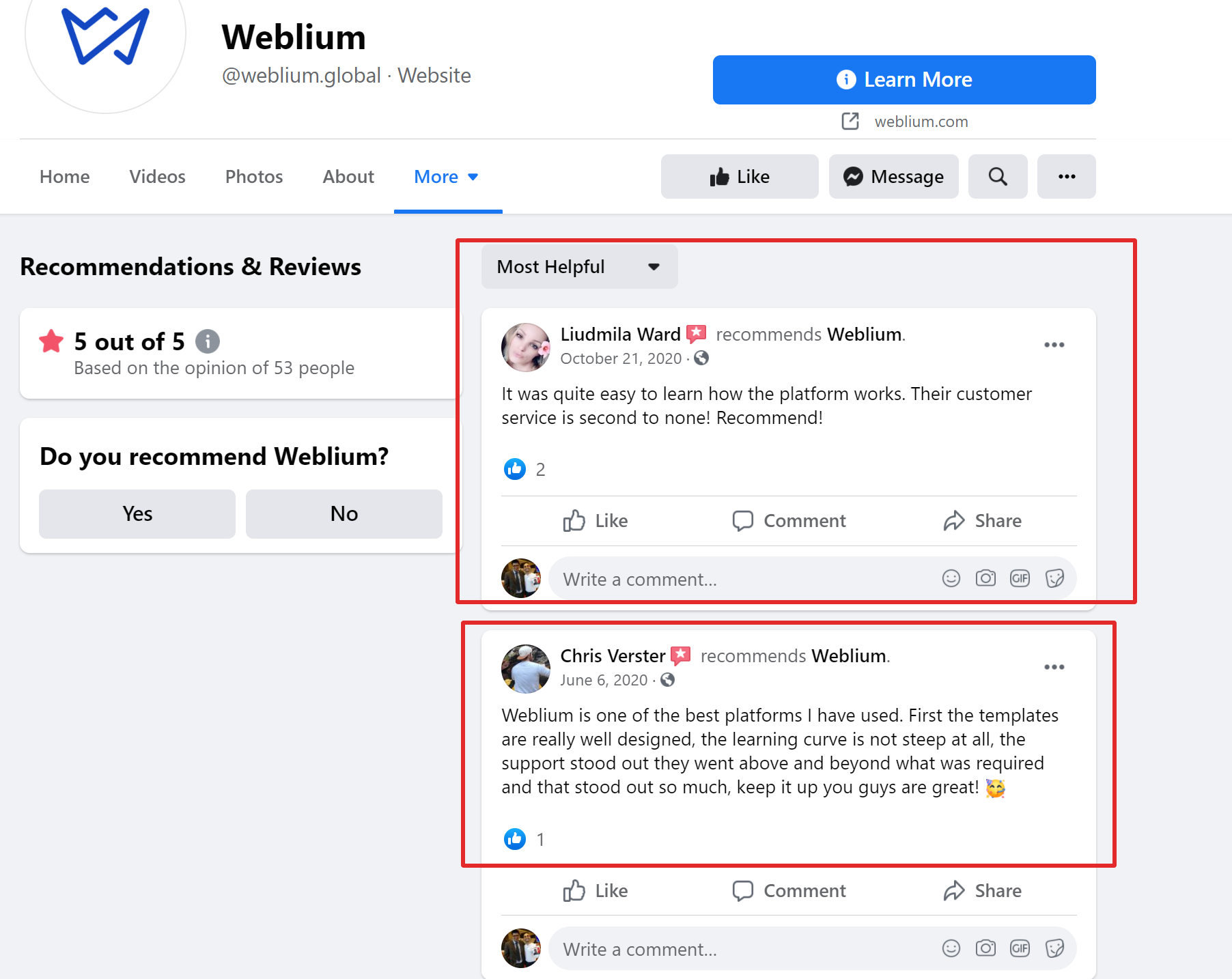 Weblium online reviews