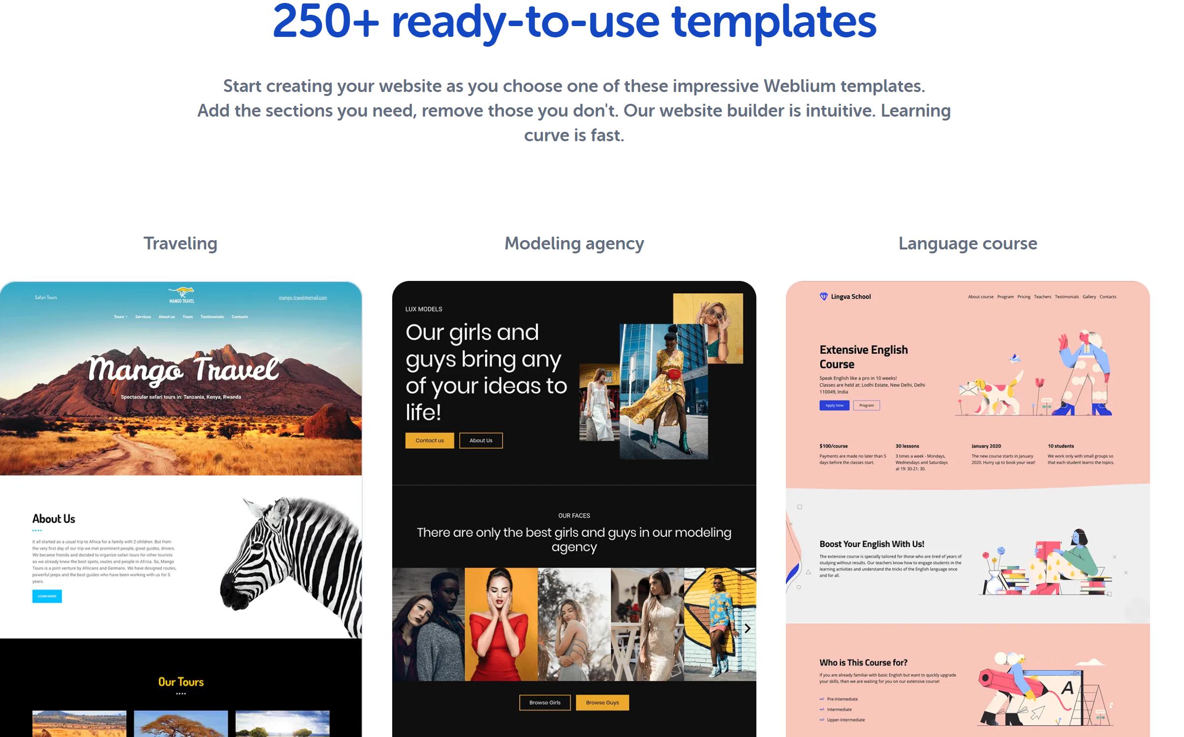 Weblium templates review