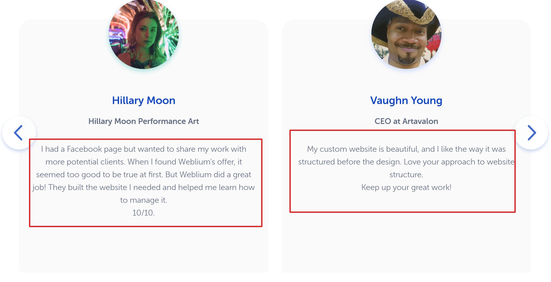 Weblium testimonials