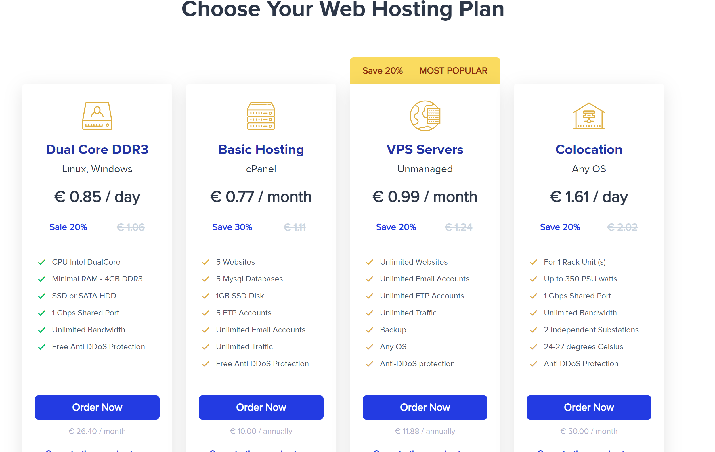 Alexhost pricing plans