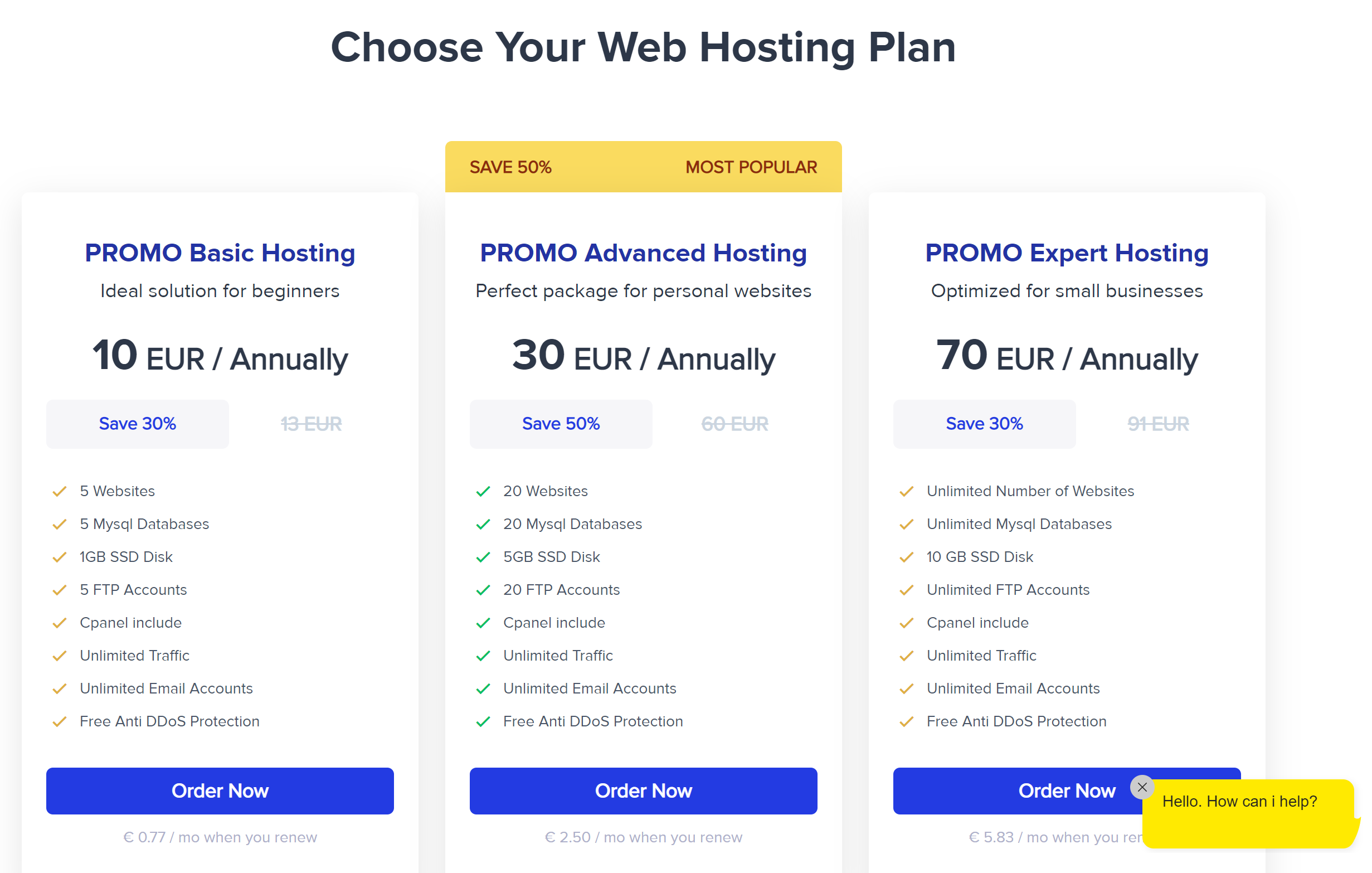 Alexhost shared hosting plans