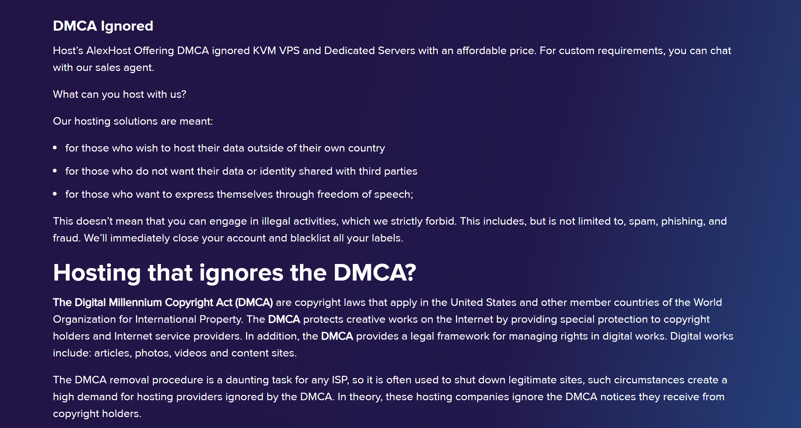 Best DMCA Ignored Hosting