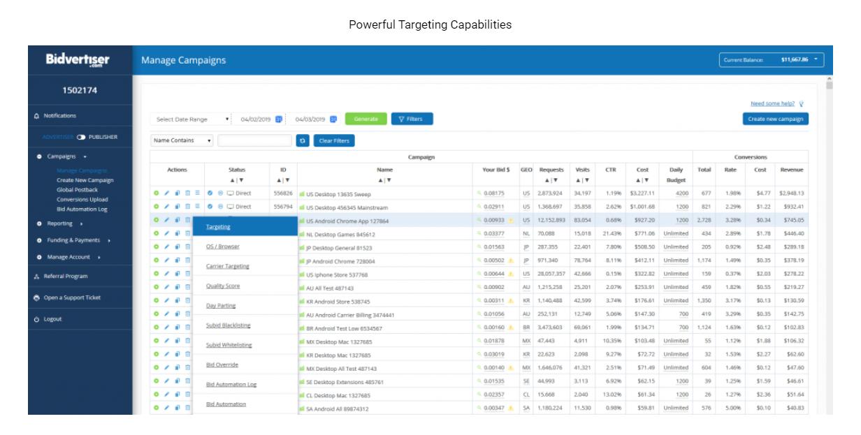 BidVertiser Targeting- Bidvertiser Review