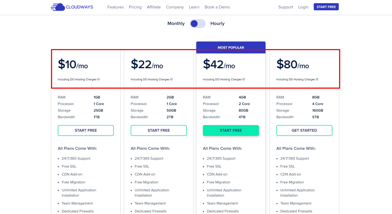 Cloudways pricing- cloudways vs nexcess