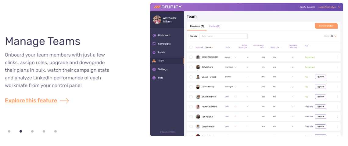 Dripify-Review - Manage Teams