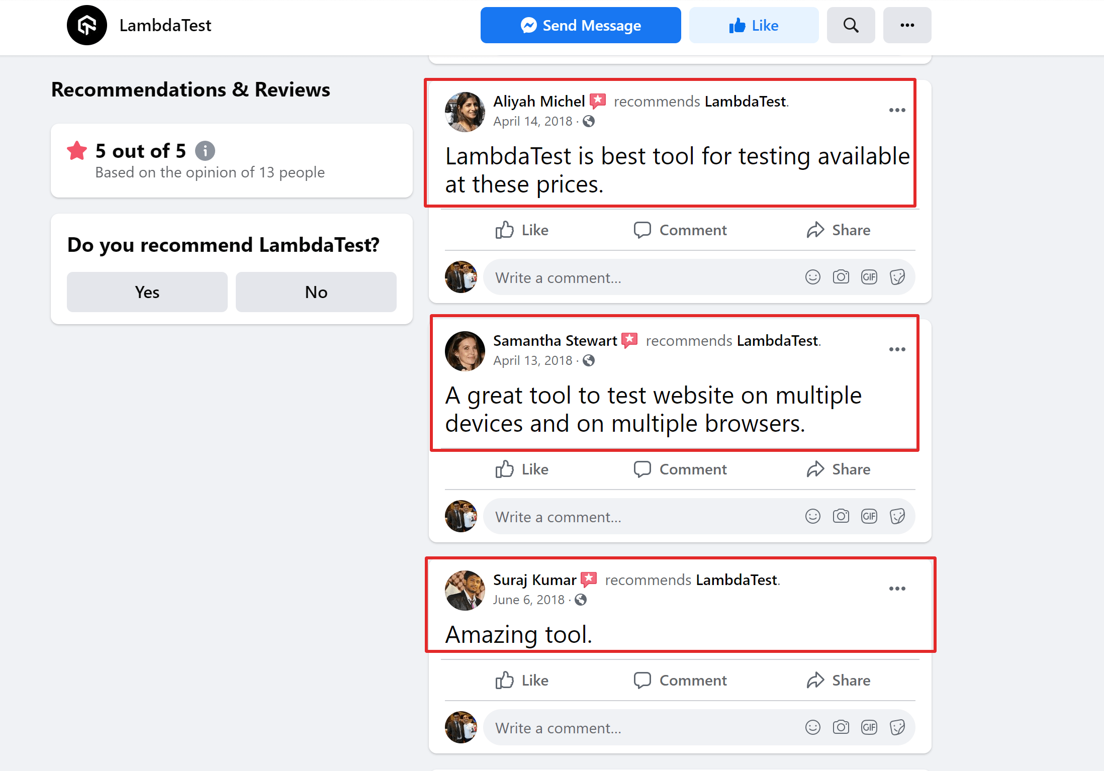 Lambdatest facebook reviews