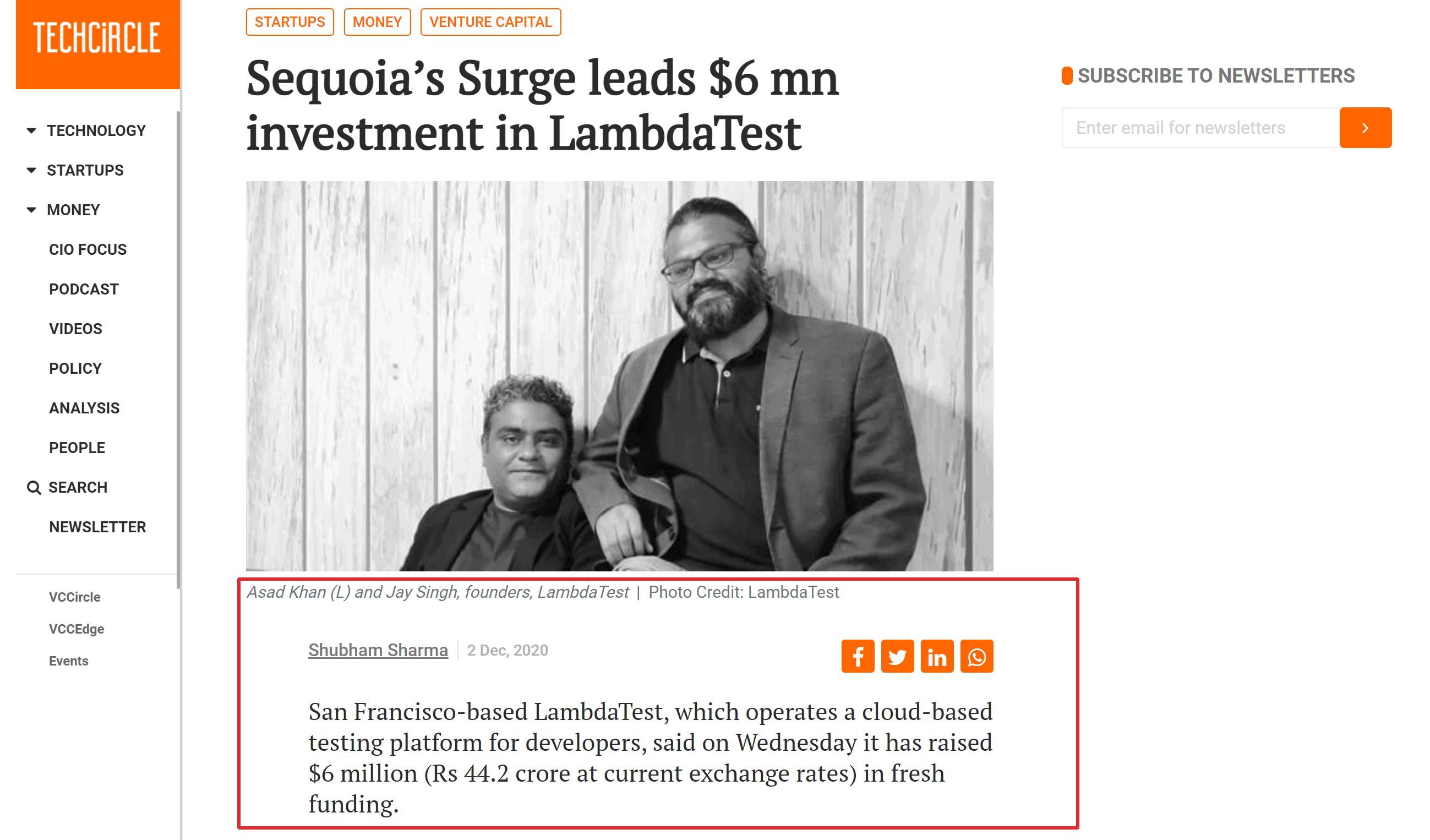 Lambdatest funding news