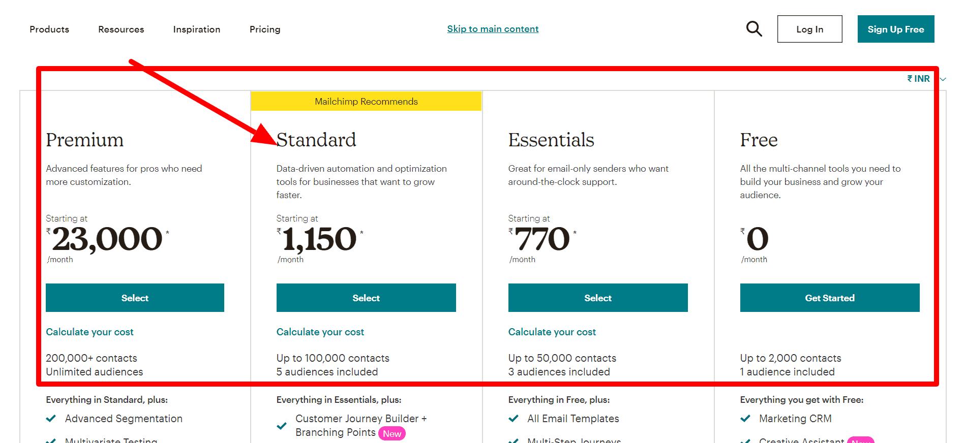 Mailchimp Pricing- Engagebay vs Mailchimp