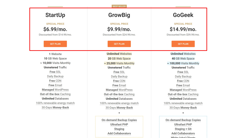 Siteground pricing- nexcess vs siteground