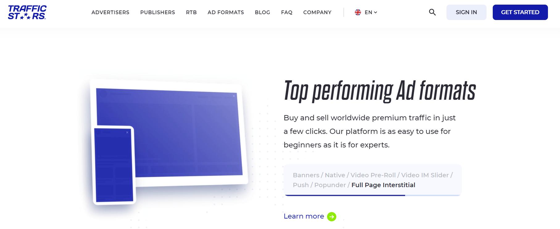 Trafficstars-Ad Formats