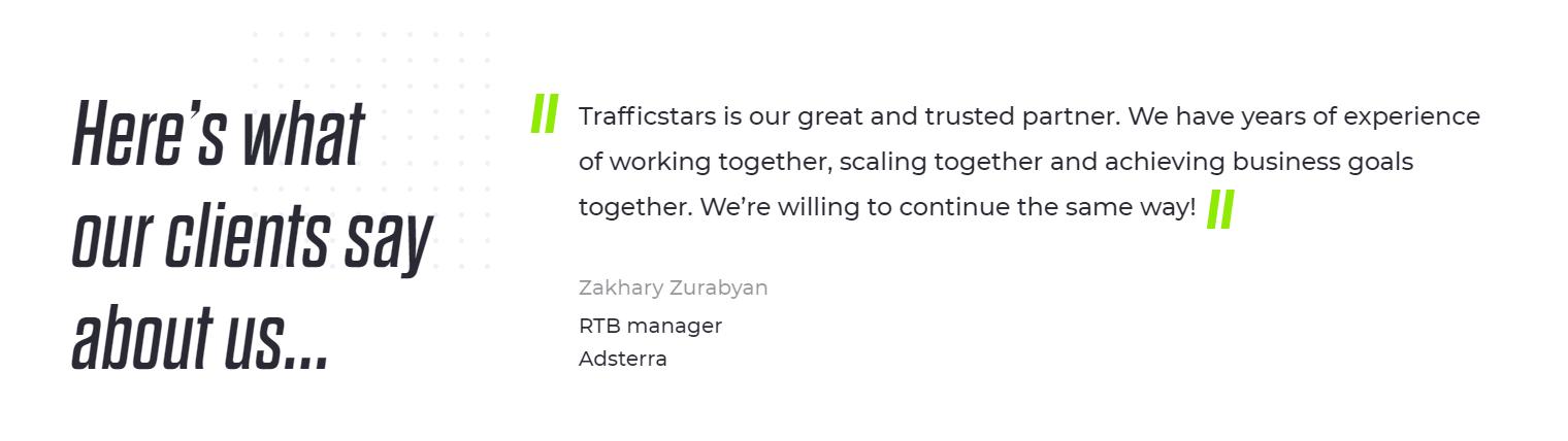 Trafficstars - Testimonials