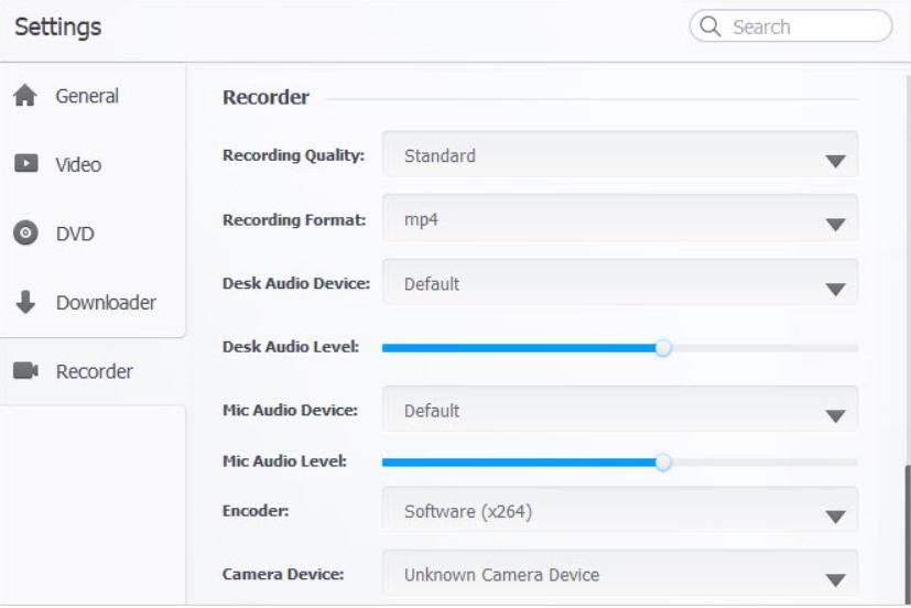 VideoProc Record Settings