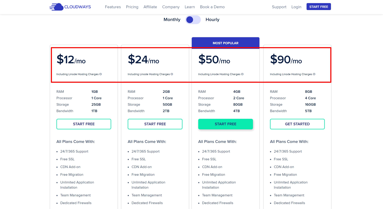 cloudways linode pricing