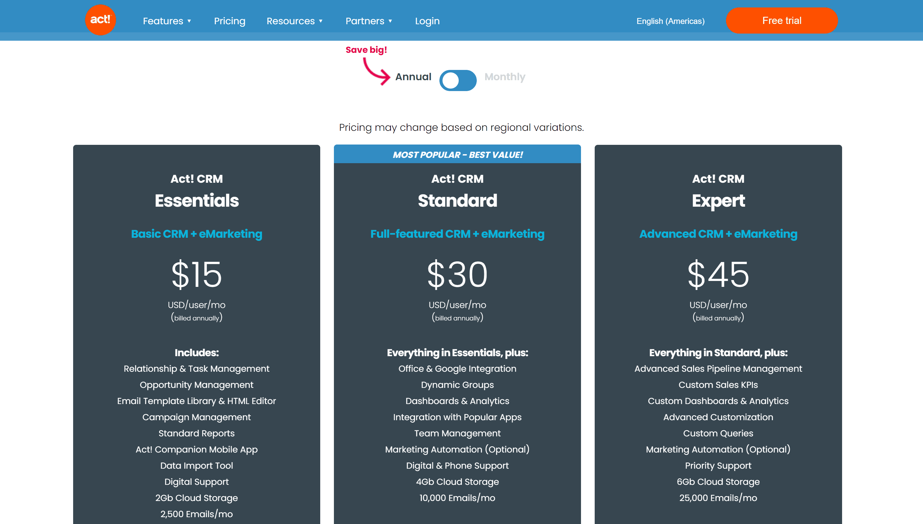 ACT CRM Pricing plans
