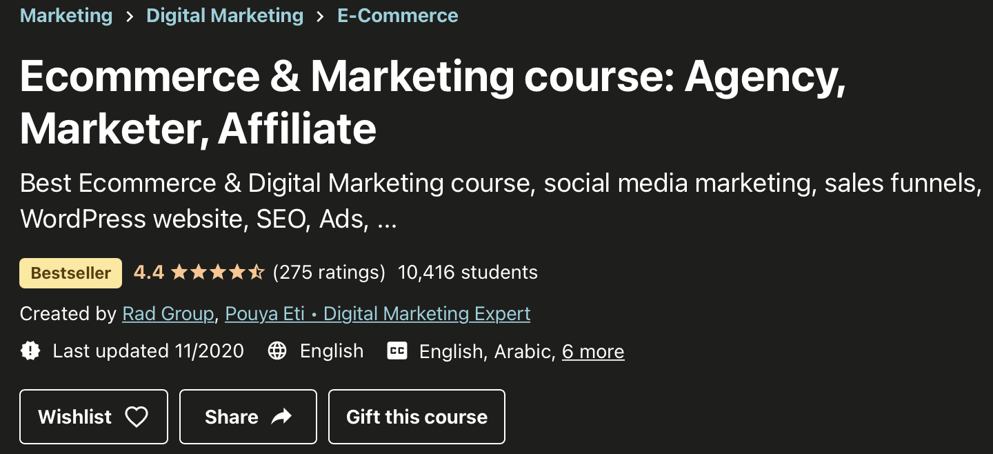 Ecommerce and marketing course- Top affiliate marketing courses