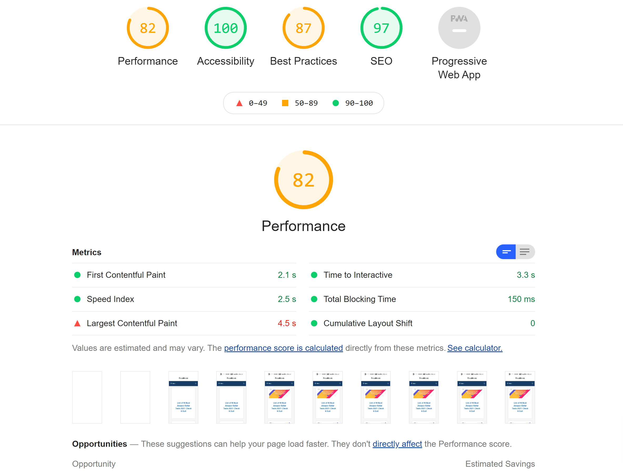 Google page speed stats hosting
