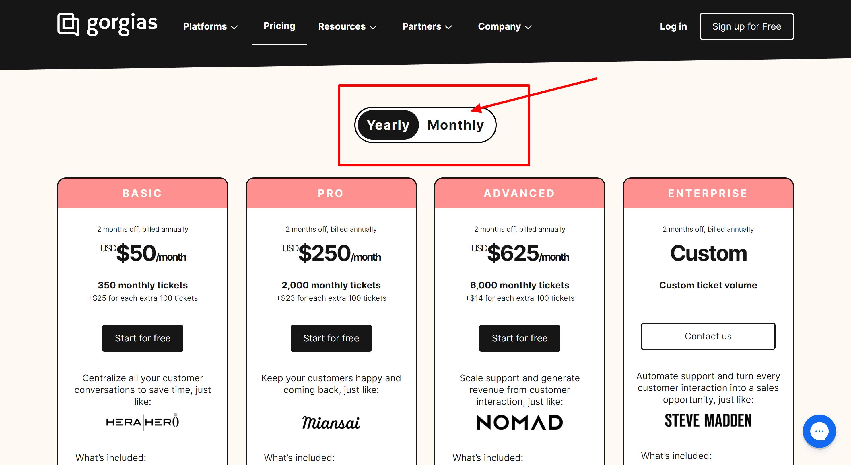 Gorgias pricing- freshdesk vs gorgias
