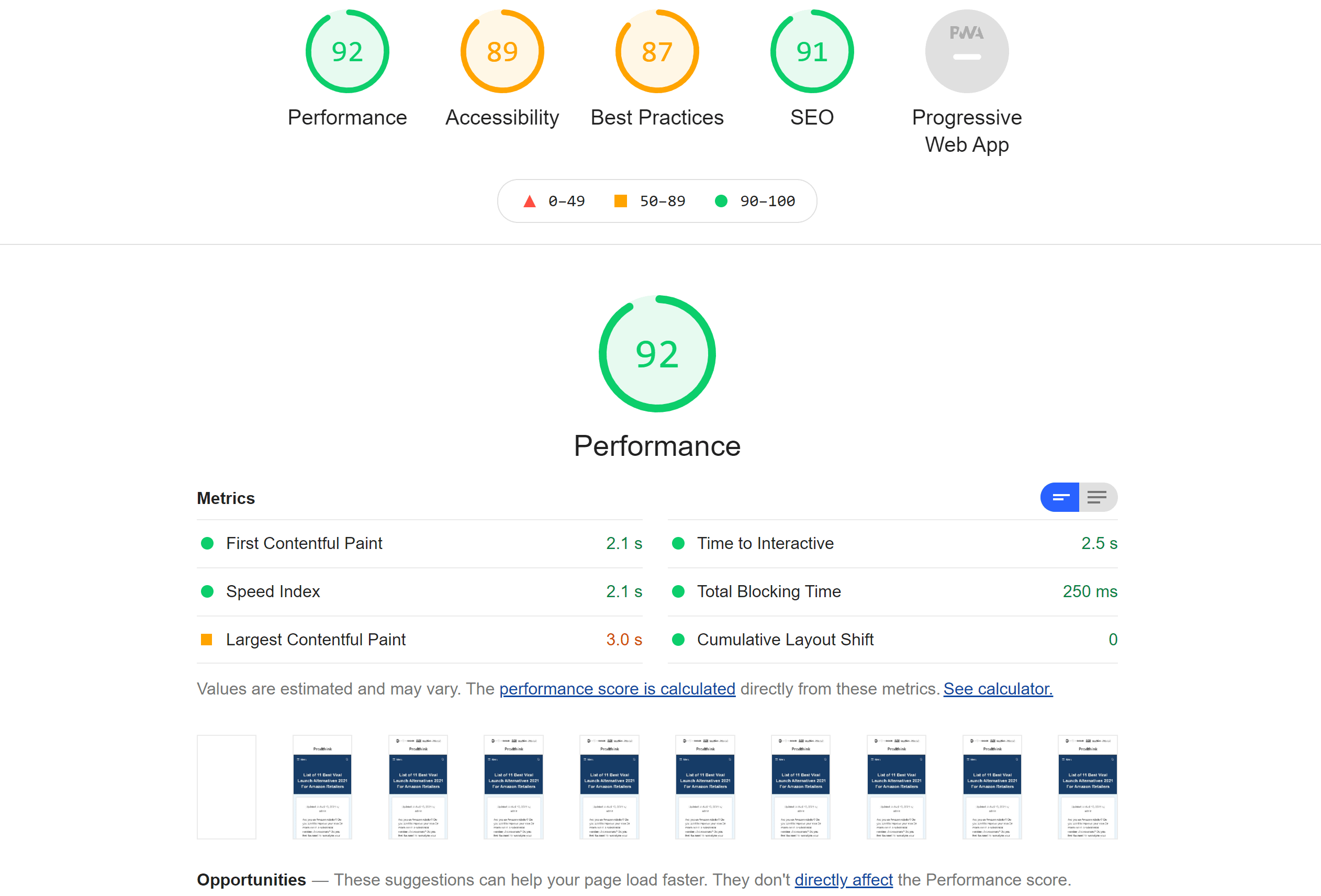 Hosting google page speed results