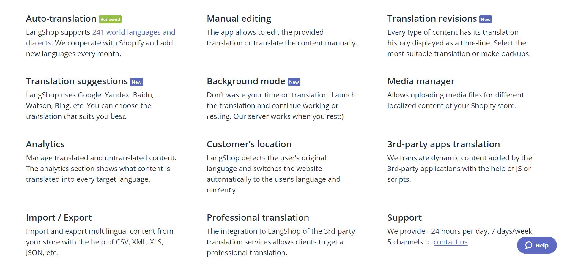 Langshop features- top shopify multinlingual app