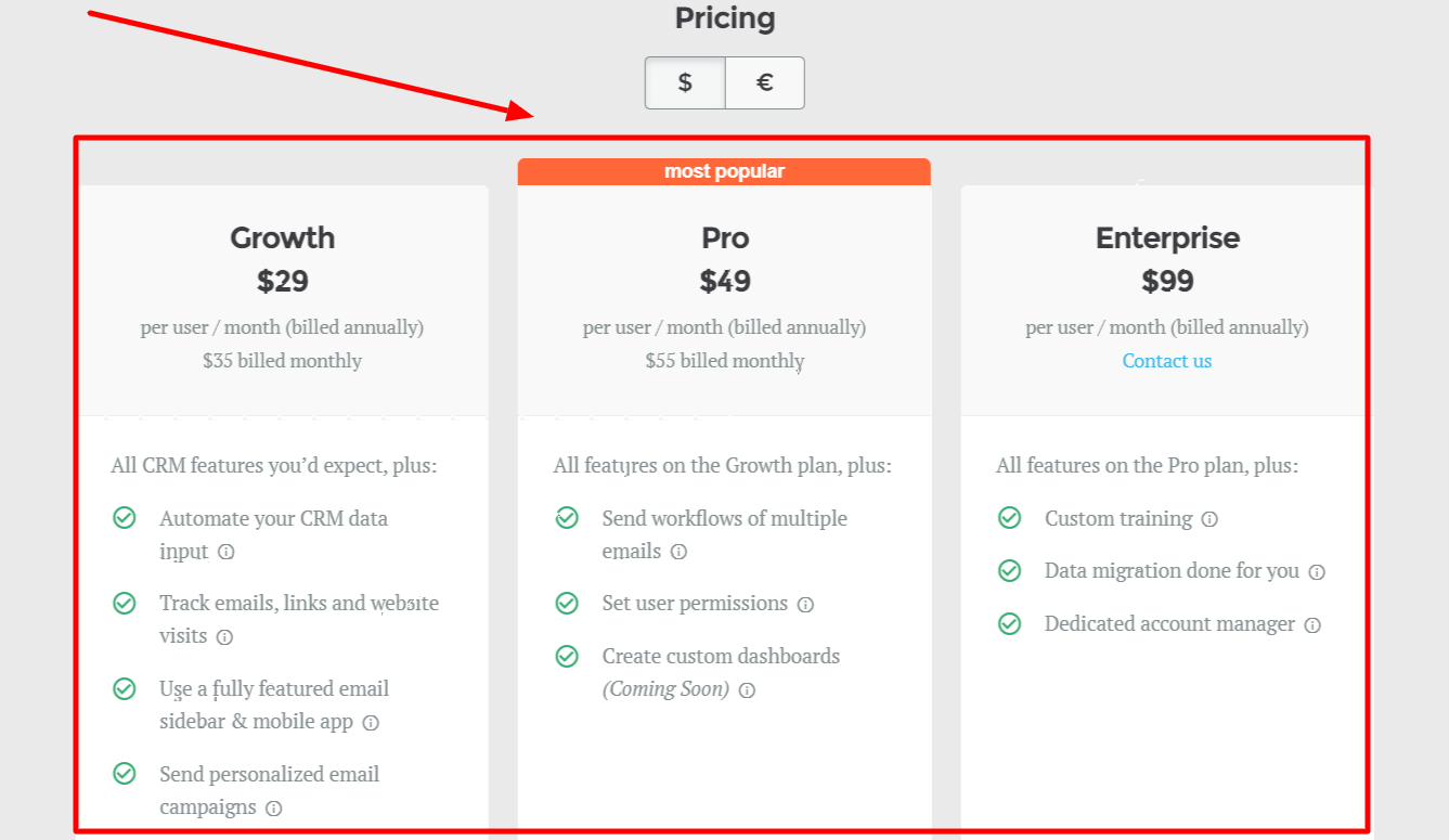 Pricing - salesflare