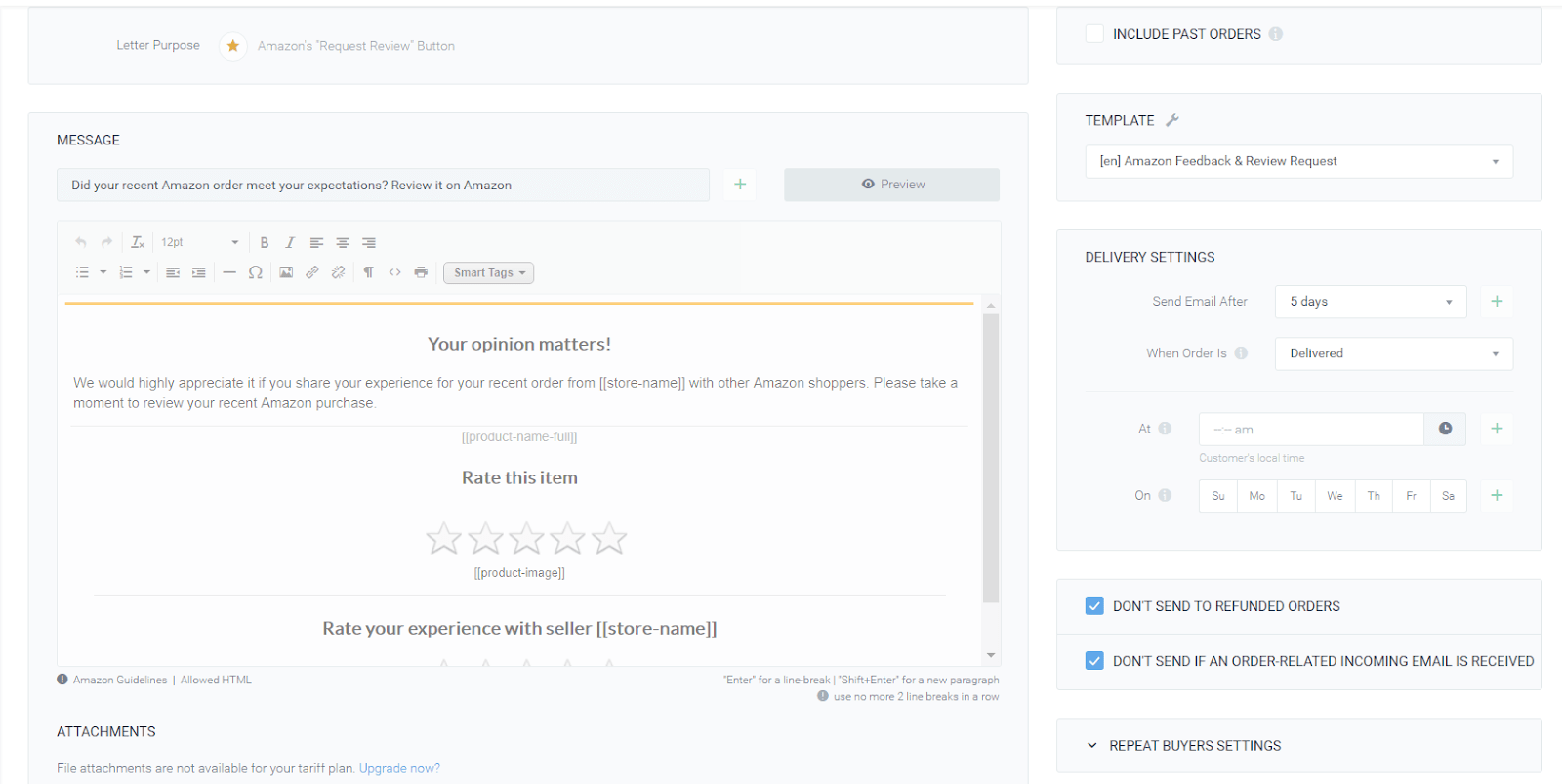 Setting up delivery settings- sagemailer