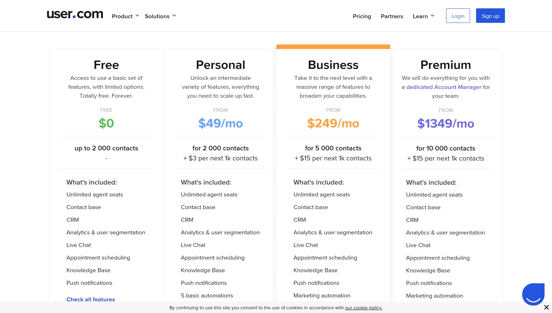 User.com pricing