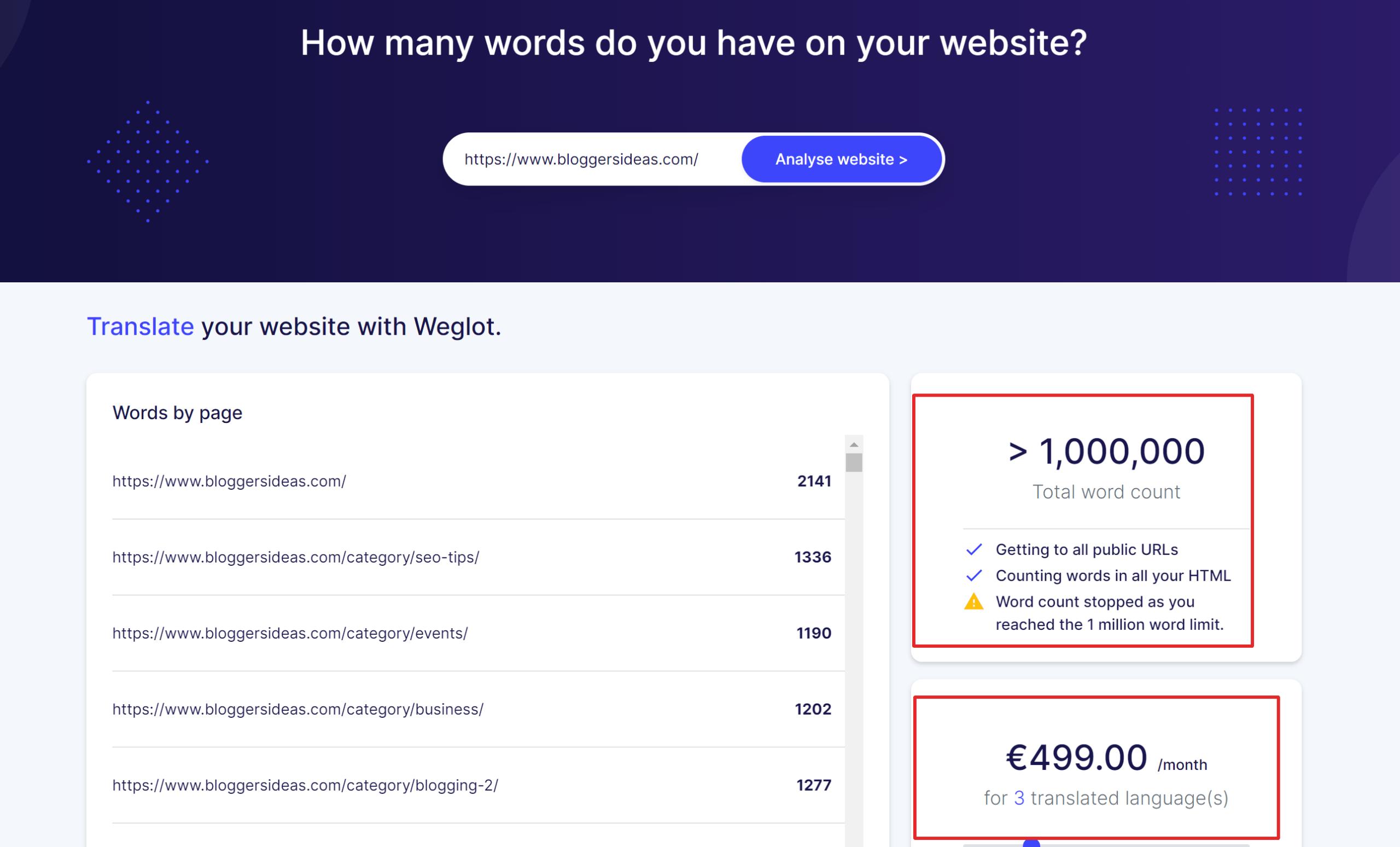 Weglot blog pricing