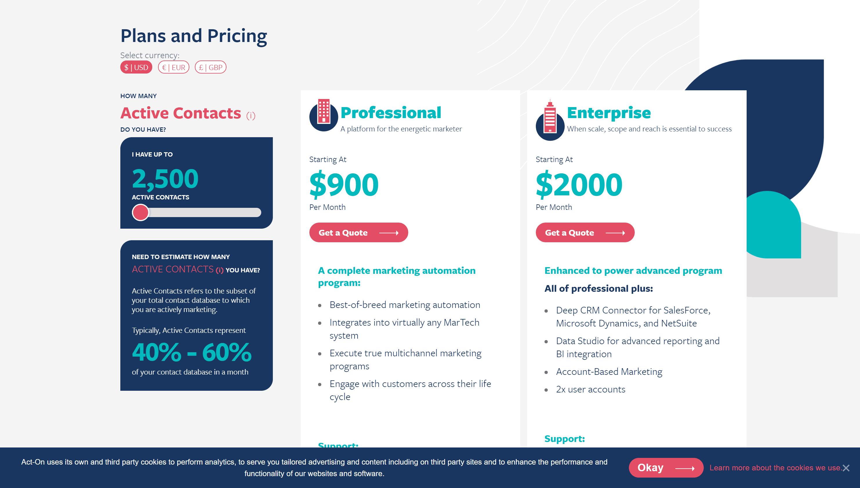 act-on pricing- best sharpspring alternatives