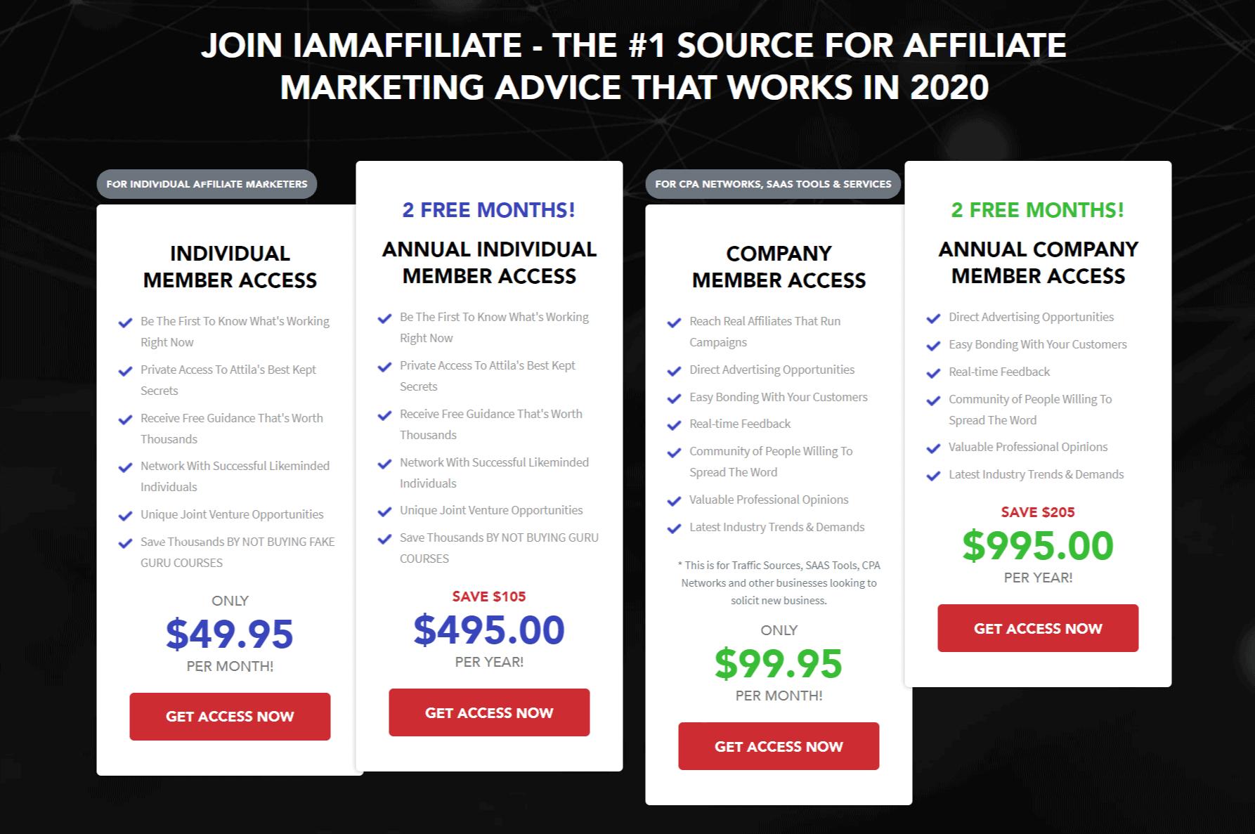 Pricing iAmAffiliate Review