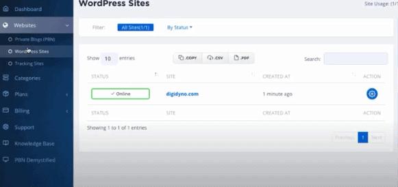 Click add wordpress button - Seekahost App review