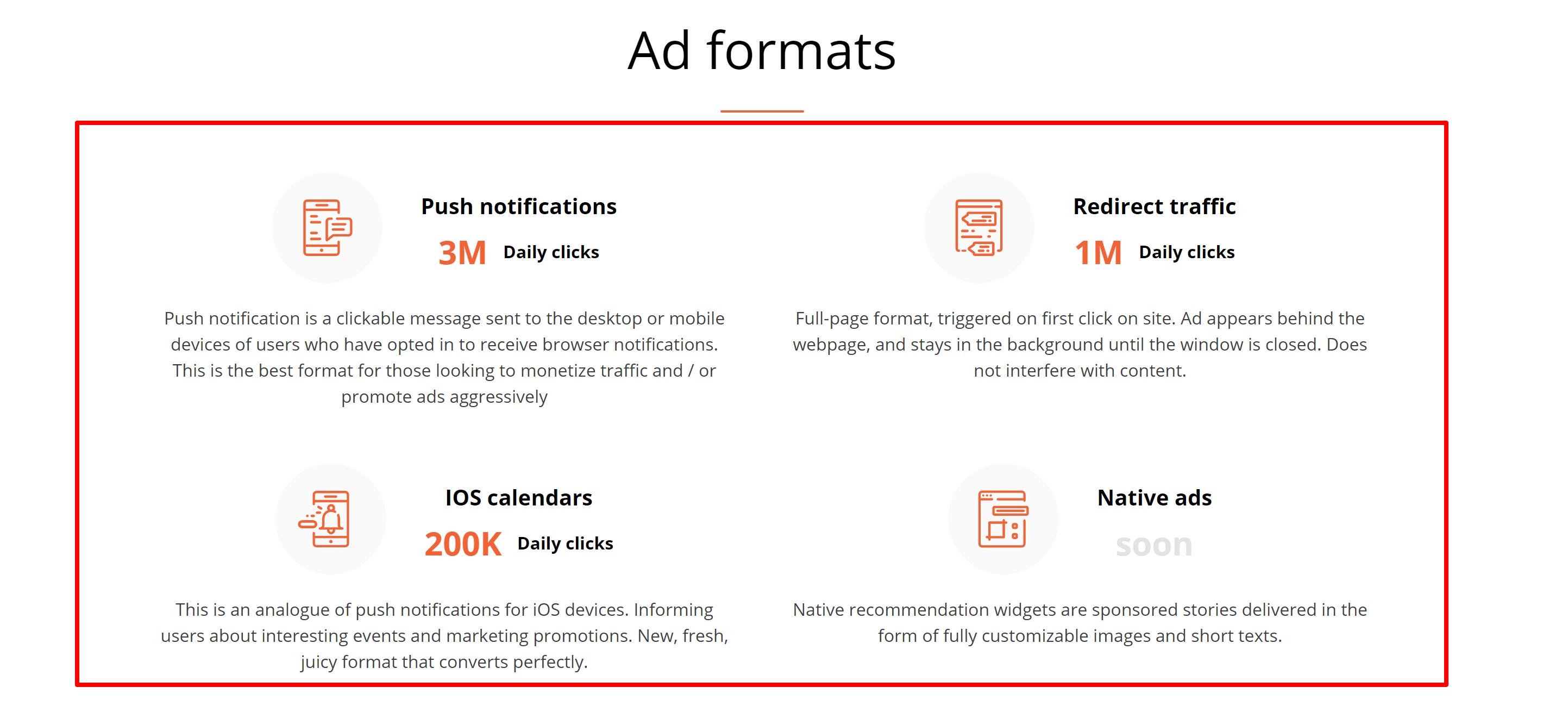 Clickstar.me ad formats- clickstar me review