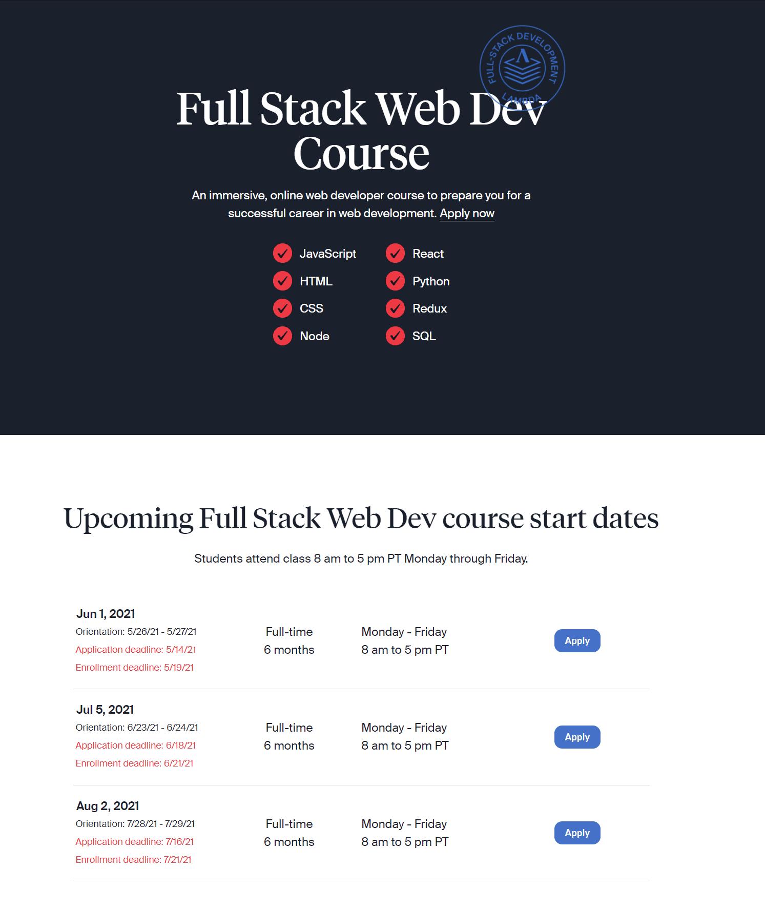 Full Stack Web development - Lambda school review