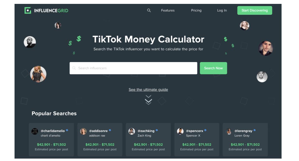 Infuencer grid money calculator