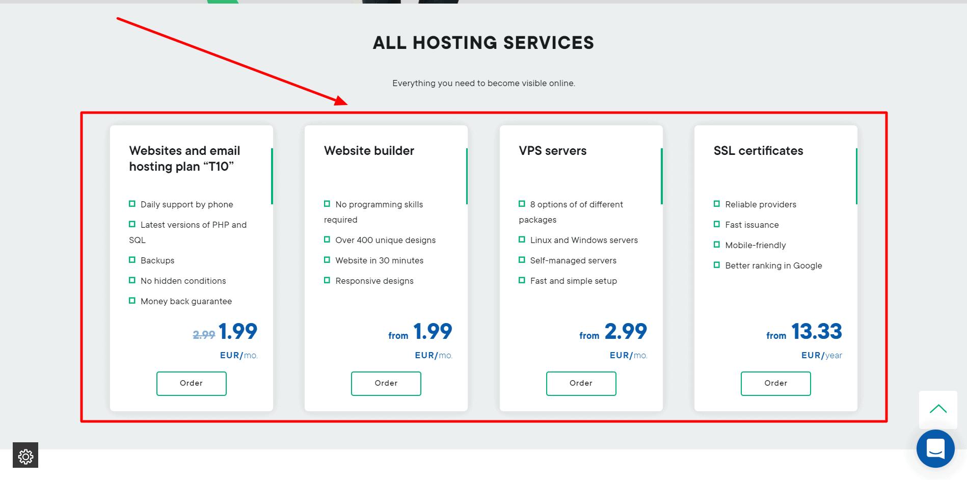 Interneto vizija Pricing