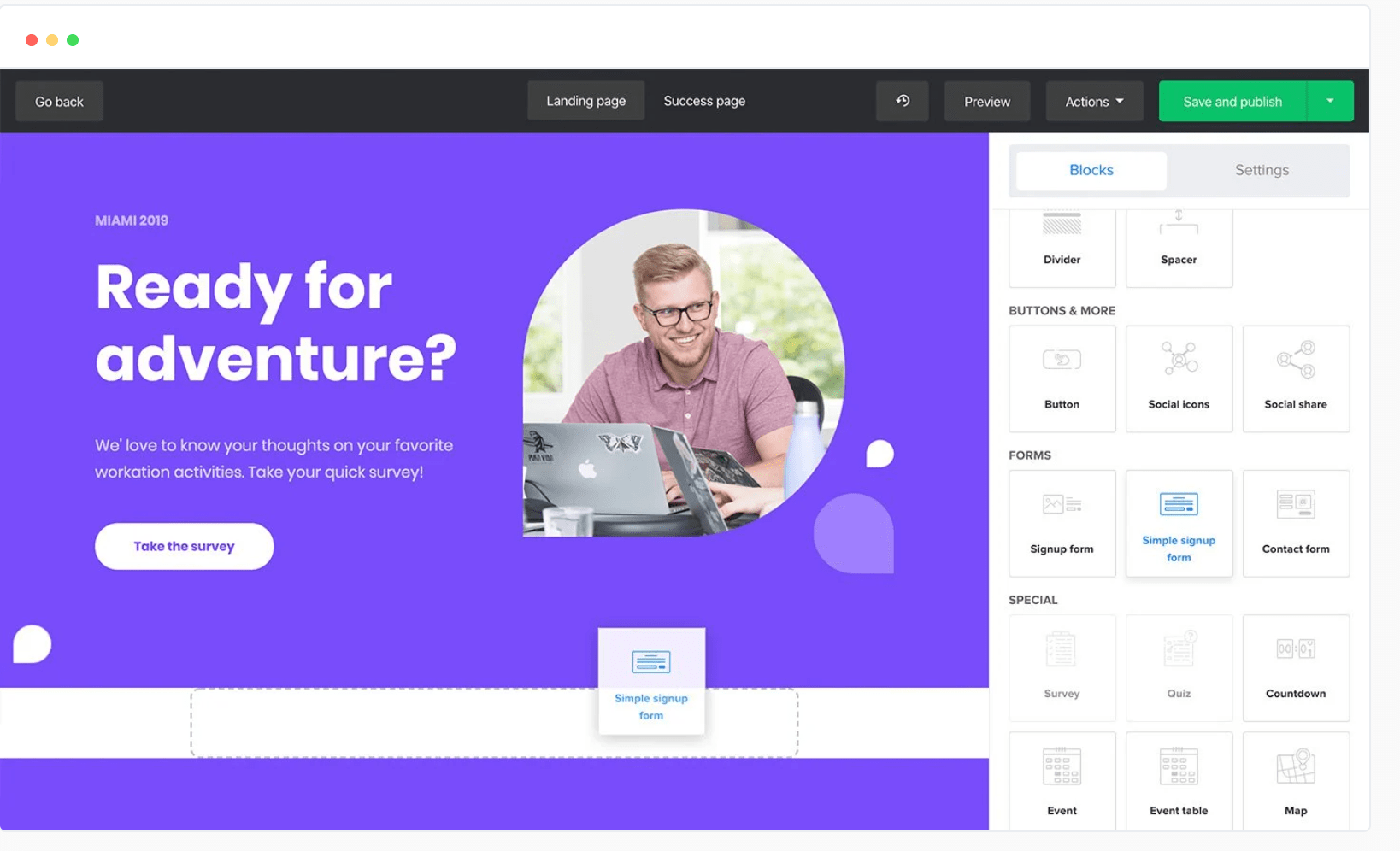 Landing pages builder in Mailerlite