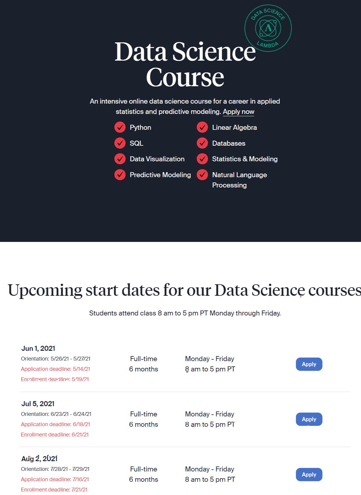 Online Data Sciences-Lambda school review