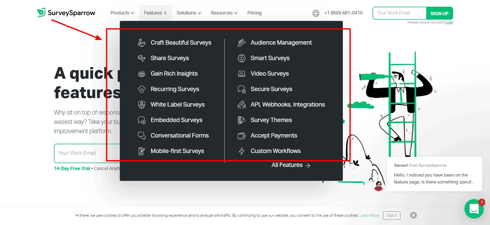 SurveySparrow promo code- Features