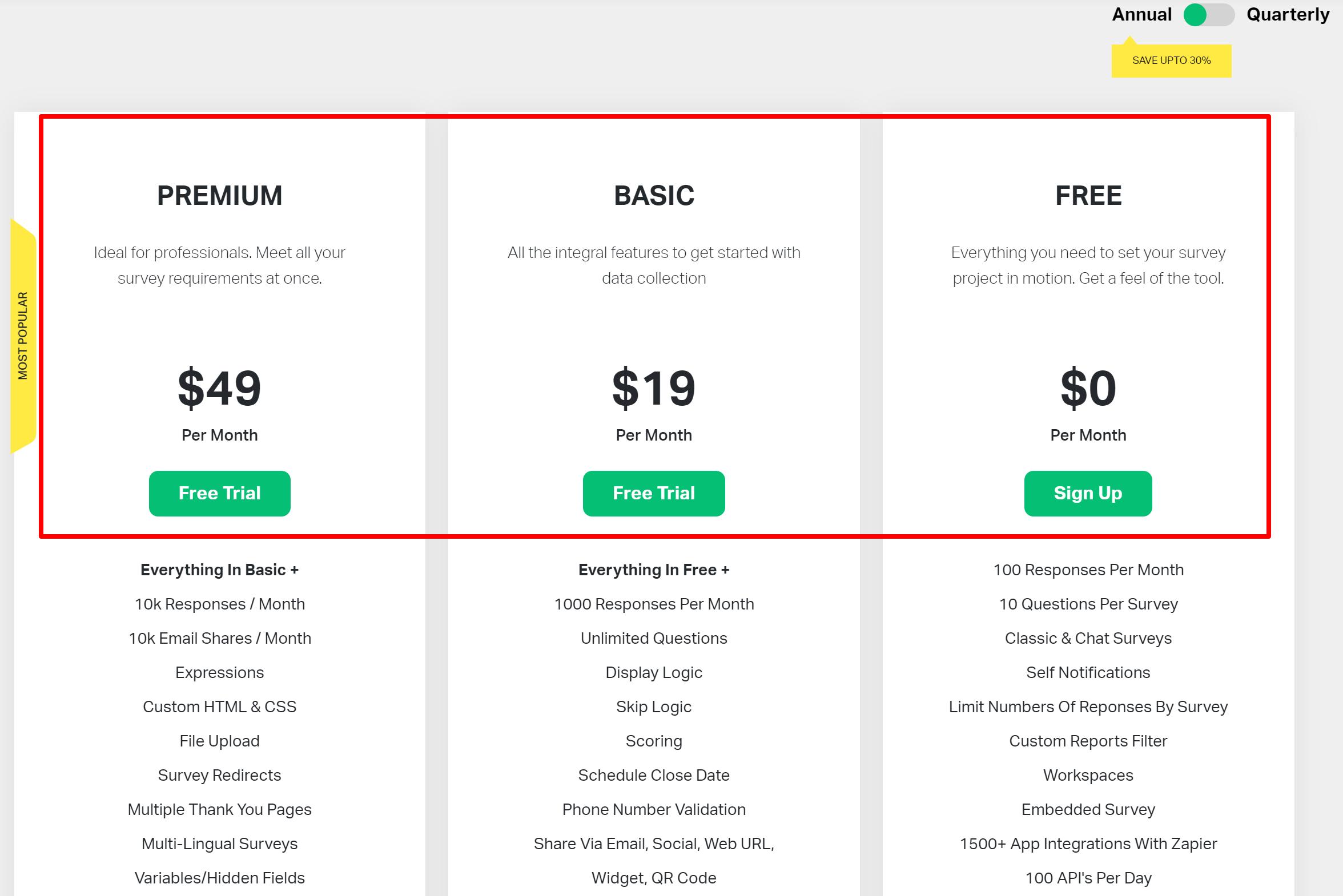 SurveySparrow pricing- Surveysparrow vs surveymonkey