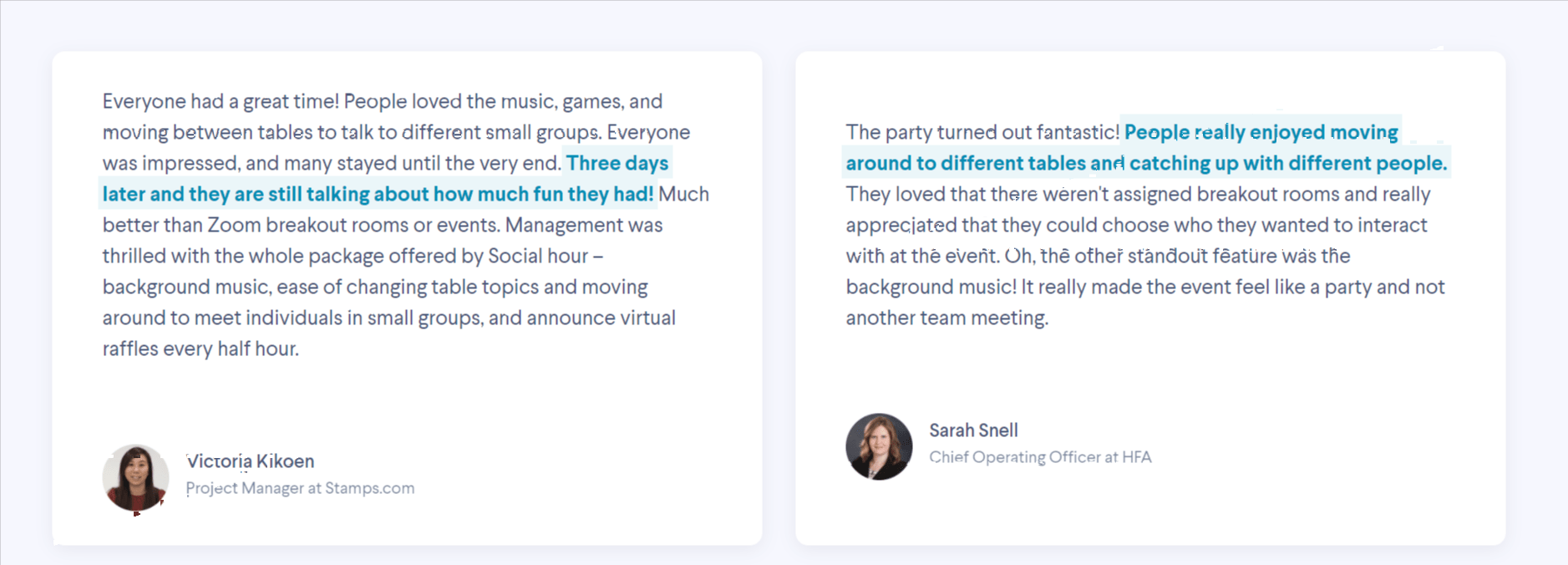 Virtual Conference -social hour review