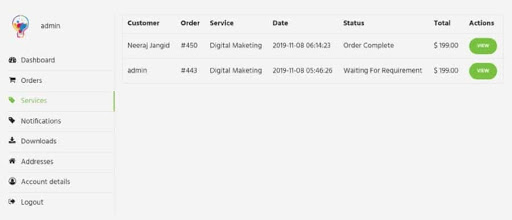 Woo sell services Review- Service listing
