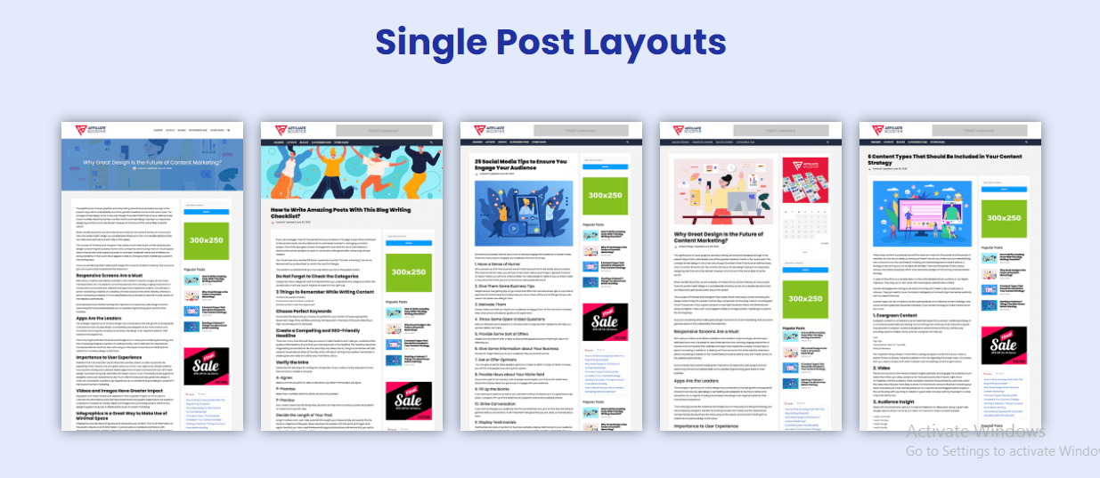 5 Single Posts Layout - Affiliate Booster Review