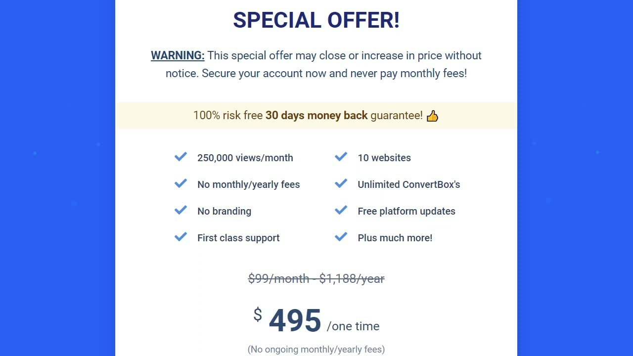 ConvertBox Pricing- ConvertBox Review
